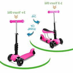 2-in-1 Kick Scooter for Kids 3 Wheel LED Light Up Adjustable