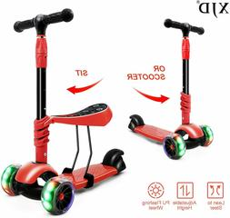 2-in-1 LED Flashing Kick Scooter For Kids Toddler Deluxe 3 W