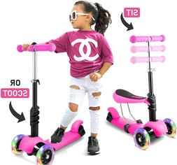 3 LED Wheels Kick Kids Toddlers Scooter Adjustable Height Fo