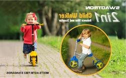 3 Wheel Scooter & Ride-On Balance Trike 2-in-1 Adjustable fo