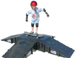 Landwave 4-Sided Pyramid Skateboard Kit with 4 Ramps and 1-D