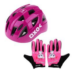 Adjustable Bike Scooter Skate Helmet & Long Finger Gloves fo