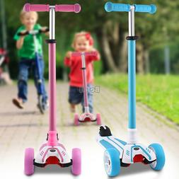 Age 3-12 Deluxe Adjustable Kick Scooter 3 LED Wheels Toddler