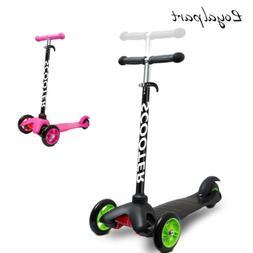 Black For Kids Gift Kick Scooter Deluxe 3 Wheels Adjustable