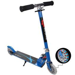 Blue Folding Aluminum 2 Wheel Kids Kick Scooter Adjustable H