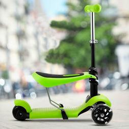 Child Kids 3-Wheel Mini Scooter with Adjustable Handle T-Bar