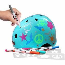 Dry Erase Kids Helmet For Bike, Skate, And Scooter, Teal Blu