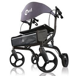 Hugo Explore Side-Fold Rollator Walker with Seat, Backrest a