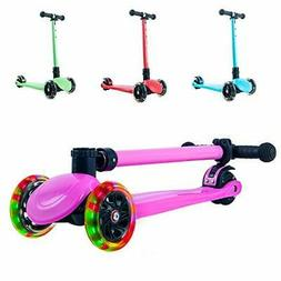 Playshion Foldable 3 Wheels Kick Scooter for Kids