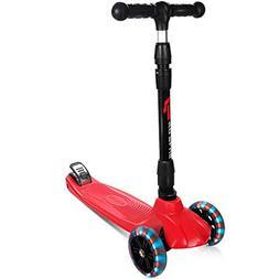 Goplus Foldable Kick Scooter 3 LED Light Wheels Adjustable K