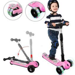 Folding Kids Scooter Flashing 3 Wheels Adjustable Child Push