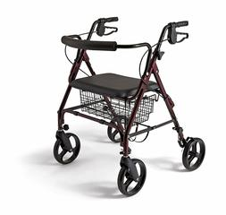 Medline Heavy Duty Bariatric Aluminum Mobility Rollator Walk