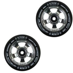 North Scooters HQ Black 88A Scooter Wheels Silver 110mm Pair