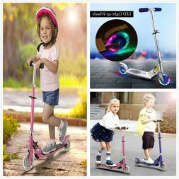 Push Kick Scooter Boys Girl Kids Foldable Adjustable LED 2-W