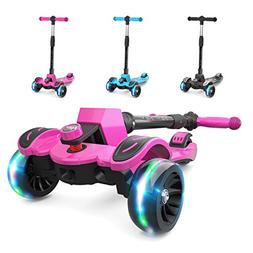 6KU Kids Kick Scooter with Adjustable Height, Lean to Steer,