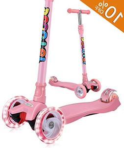 OUTON Kick Scooter for Kids 3 Wheel Lean to Steer Adjustable