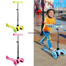 Kids 3 Wheel Kick Scooter LED Light Up Adjustable Height for