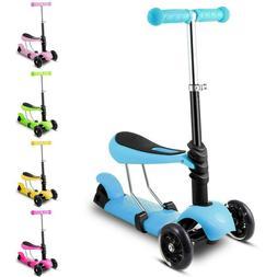Kids 3-Wheel Mini Kick Scooter with Adjustable Handle T-Bar