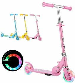 Kids Folding Kick Scooter for Girls Boys Gift with 2 Wheels&