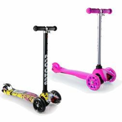 Kids Kick Scooter 2 Wheel Adjustable Height T-Bar Ride LED W