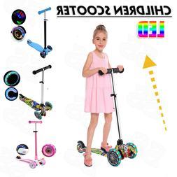 Kids Kick Scooter Child Kids Toddler Flashing 3 Wheels Adjus
