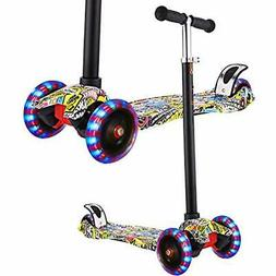 Kids Kick Scooters Scooter - Adjustable, 3 Wheel Mini With L