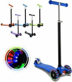 Kids Scooter Deluxe Adjustable Kick Scooters Girls Boys 3LED
