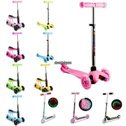 Kids Scooter Deluxe Adjustable Kick Scooters Girls Boys LED