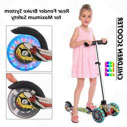 Kids Scooter Deluxe Adjustable Kick Scooter w/ LED Wheel Gir