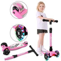 kids scooter flashing led 3 wheels adjustable