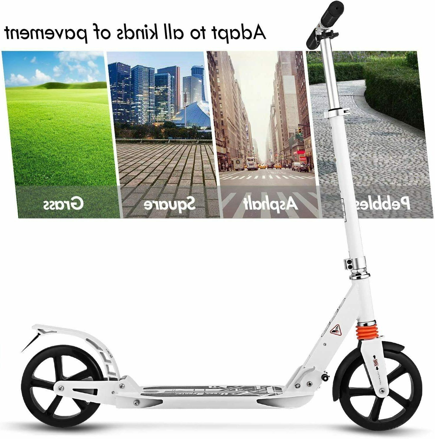 Adults Teens Kick Scooter, Height-Adjustable Foldable Commut