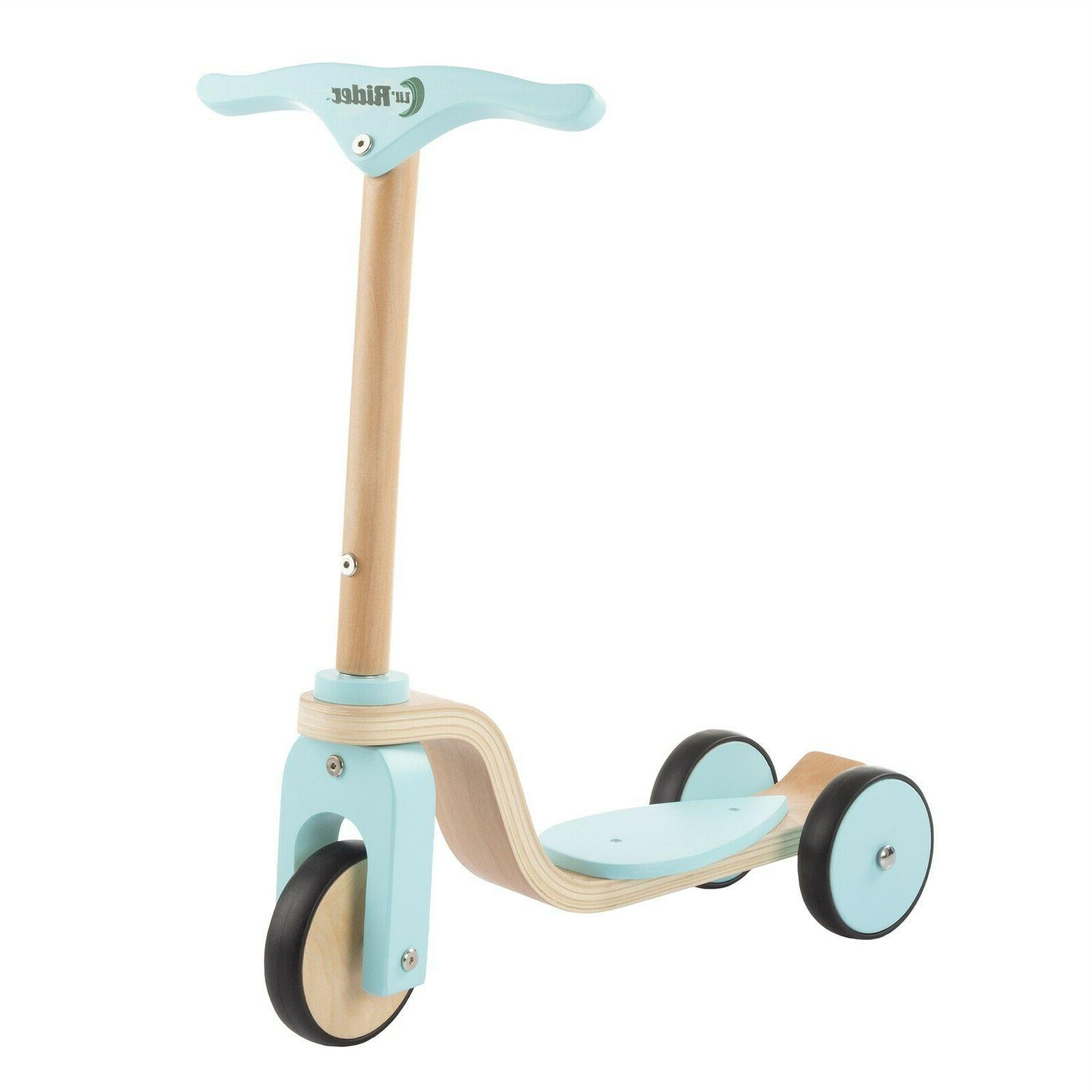 3 wheeled wooden scooter beginner ages 2