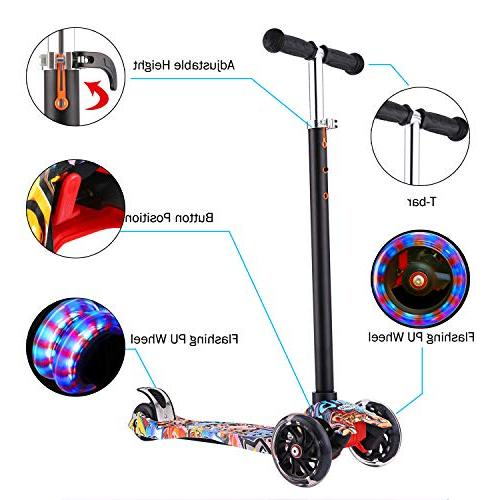 Hikole 3 Scooter for Kick Scooter LED Light Wheels Children to Years