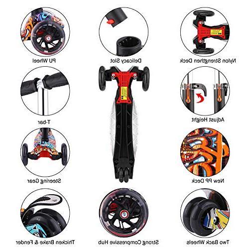 Hikole for Mini Adjustable Kick Light Wheels for Children Girls to 12