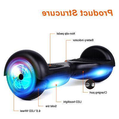 "6.5"" LED Wheel Electric Self Scooter Black No UL"
