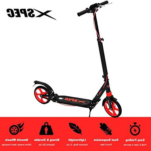 Xspec Folding Adult Kick Street Scooter Full Dual Rear Wheel Kick 220 lbs, City Urban Street Scooter, Carrying Strap