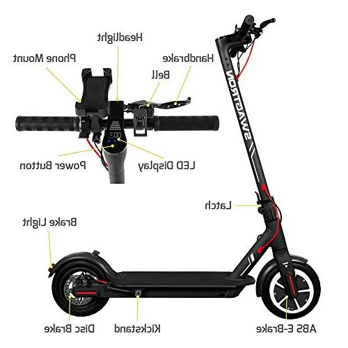 """SWAGTRON City Electric Scooter, 18mph 8.5"""" Run Flat Cushioned Tires, Cruise APP - Elite Official of The Chicago Cubs"""