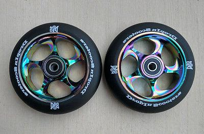 DIS 110mm Black Slicks Neo Chrome Metal Core Scooter Wheels