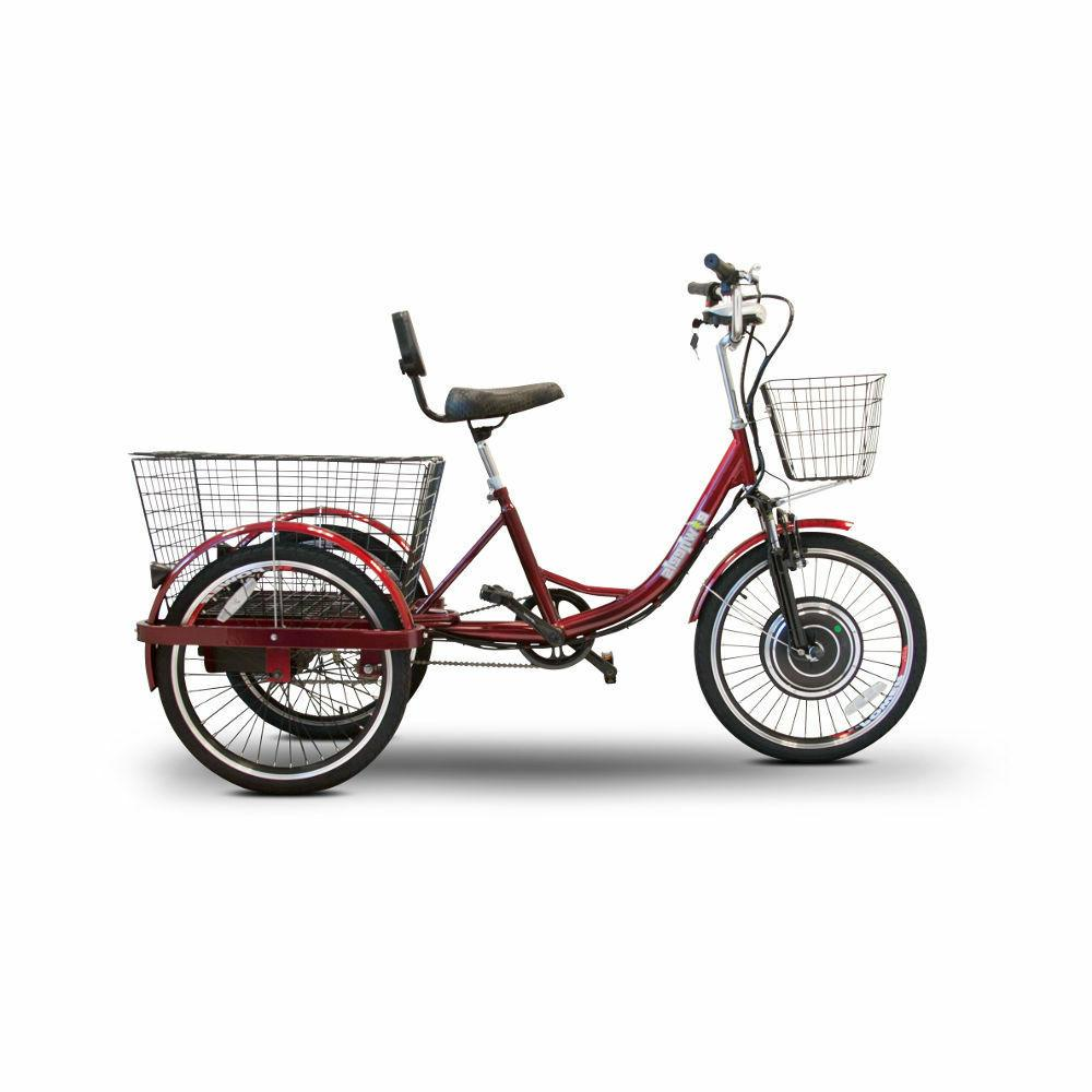 ew29 electric trike red pedaling tricycle scooter