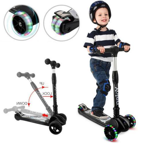 folding kids scooter flashing 3 wheels adjustable