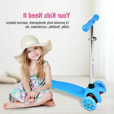 height adjustable kid 3 wheel scooter pu