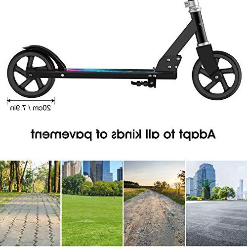 ENKEEO Kick Scooter with 220 Height Adjustable Handlebar and Oversized Wheels, Smart Foldable Scooter Kids,