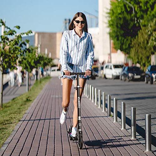 ENKEEO 220 lbs Capacity, Height Adjustable Handlebar and Wheels, Smart Foldable Commuter Kids,