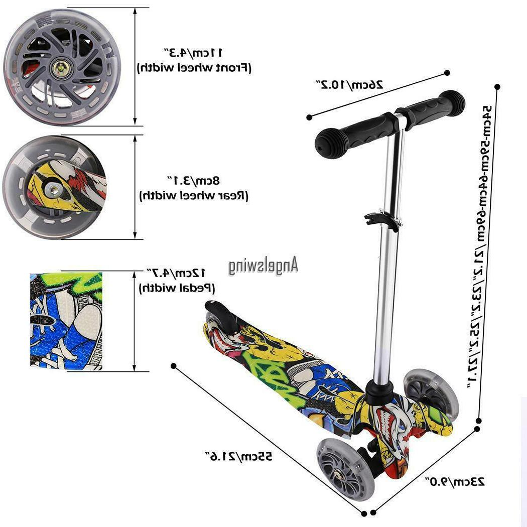 Kids Scooter Deluxe Age 3-12 Adjustable Scooters Boys Wheels