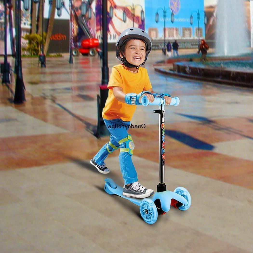Kids 3 Wheel Scooter LED Adjustable Height Girls Outdoor Skate