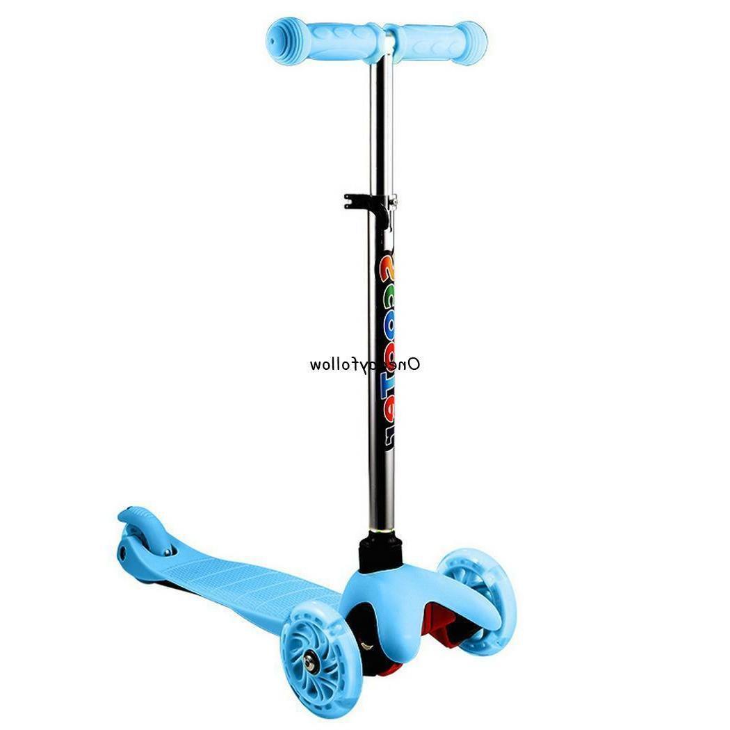 Kids 3 Wheel Scooter LED Light Up Adjustable Outdoor