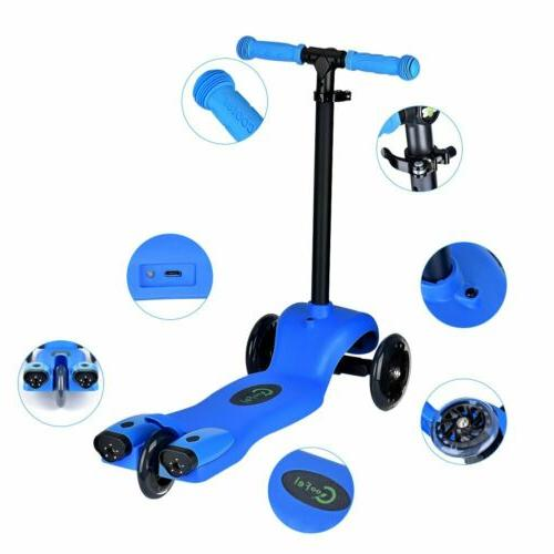 Kids Scooter Deluxe Age 2-9 Adjustable Scooters LED Sprayer
