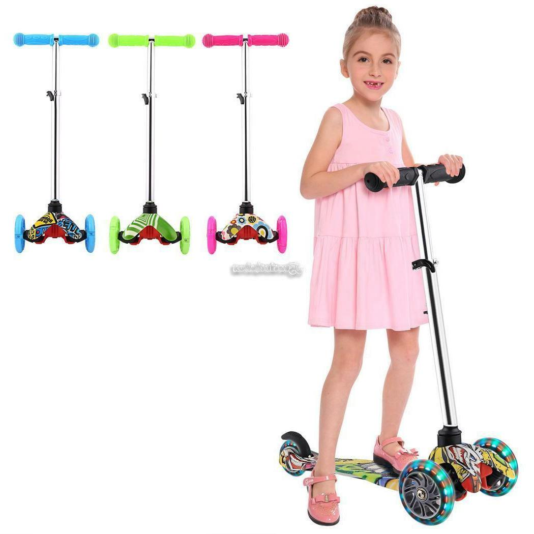 Kids Scooter Age 3-12 Adjustable Kick Scooter Girls LED Wheel