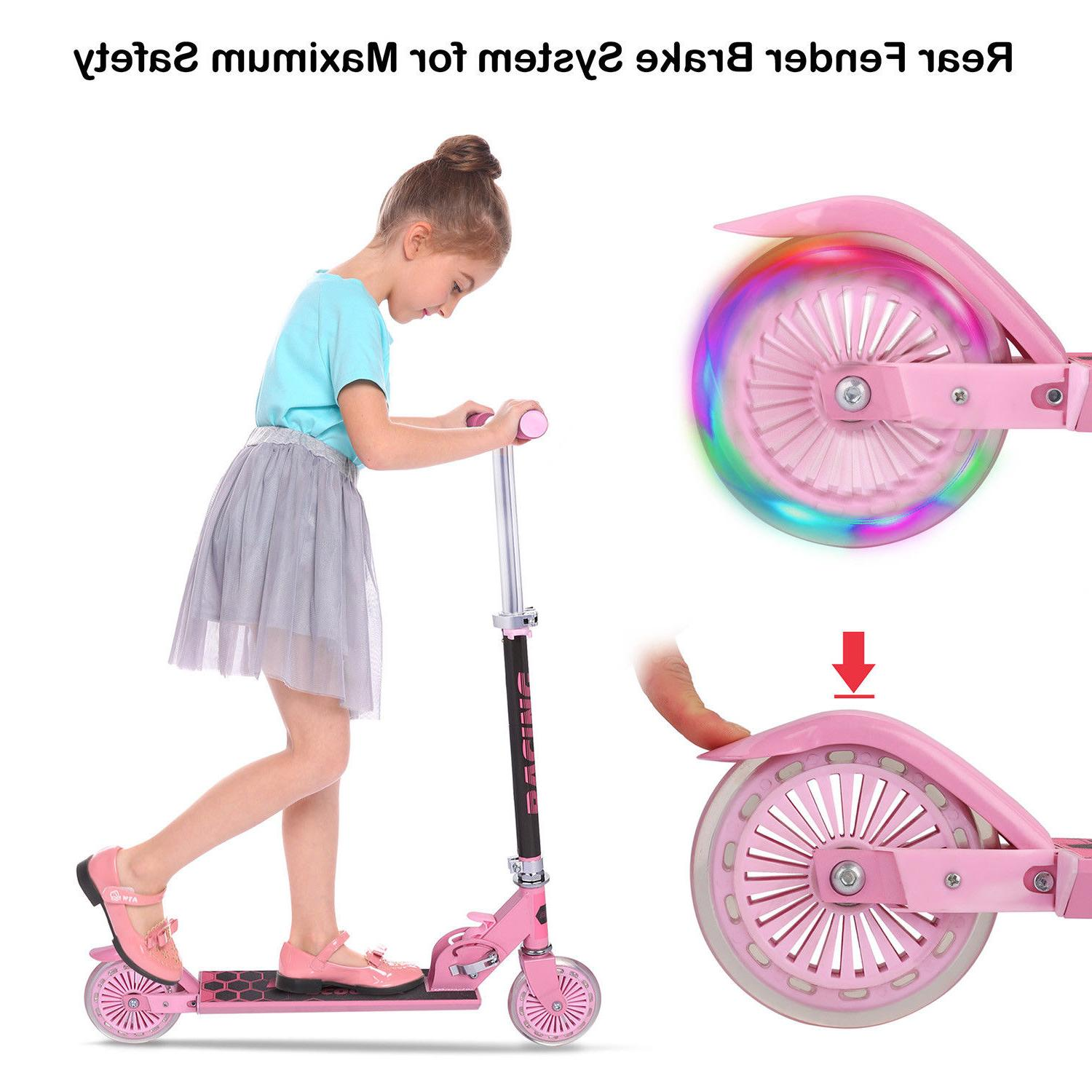 3 Wheel Kick Scooter. For Kids 2-12 Ages with LED Rear Light