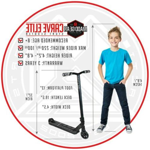 MADD ELITE Grey/Black Trick Stunt Scooter warranty